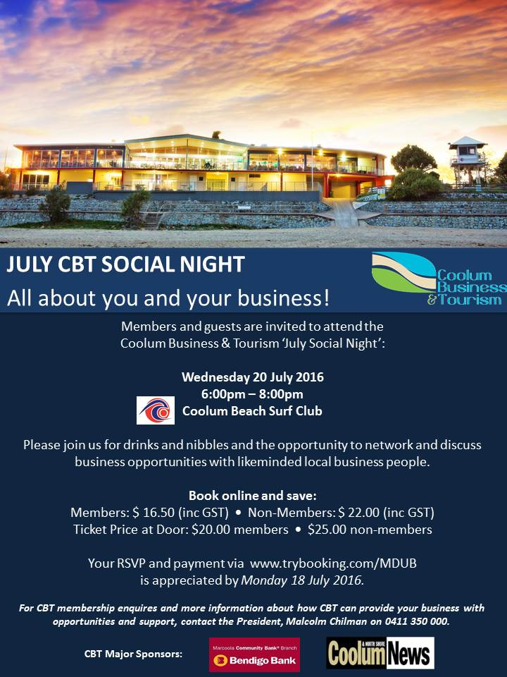 July Social Night Invite - CBT Social Night: JULY